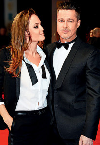 LONDON, ENGLAND - FEBRUARY 16:  Angelina Jolie (L) and Brad Pitt attend the EE British Academy Film Awards 2014 at The Royal Opera House on February 16, 2014 in London, England.  (Photo by David M. Benett/Getty Images)